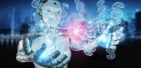 Cyborg judge using 3D rendering digital paragraph law symbol