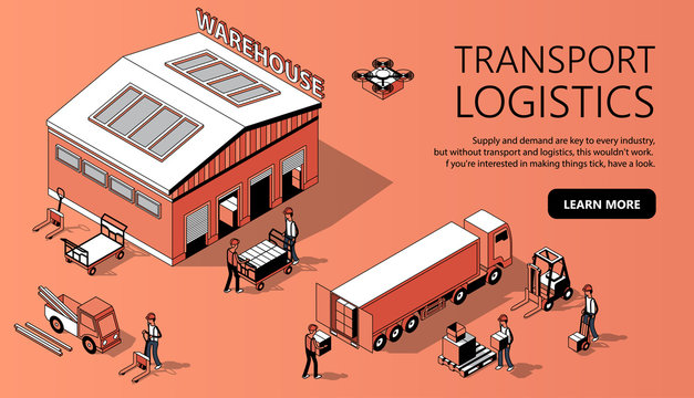 Vector 3d isometric site template with warehouse, truck and people. Thin line style, internet portal with button for transport logistics. Orange background with goods and storage. Commercial shipping