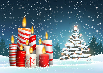 Christmas candles and tree in snowy landscape