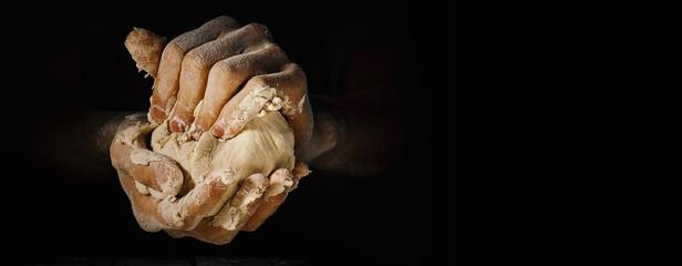 Photo sur Plexiglas Boulangerie Cook holding fresh made dough
