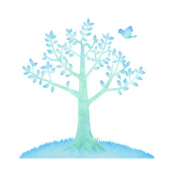青い鳥と木のイラスト