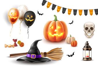 Vector halloween poster witch hat, broom balloon