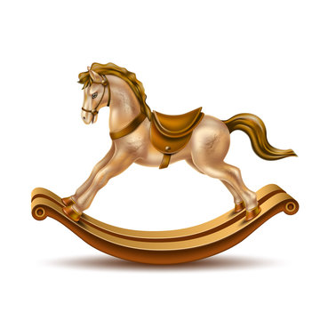 Vector 3d rocking horse golden marble on wood