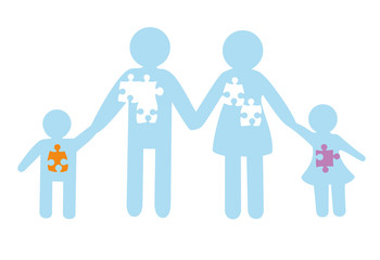 silhouette of the family. father, mother, daughter and son. a happy family. puzzles. vector illustration.