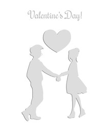 Silhouettes of a guy and a girl who hold hands. on the background of the heart. Valentine's Day. vector illustration.