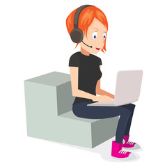 Female Freelancer Working on computer and headset on. vector illustration