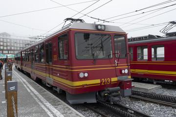 Jungfrau Railway Train at Kleine Scheidegg Station Bernese Oberland ,Switzerland