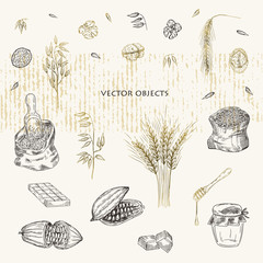 Vector illustration. Eco products. Vector objects set. Pen style drawing.