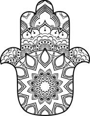drawing of a line art Hand of Fatima Hamsa with round ethnic black and white pattern on a white background. Hand drawn tribal vector stock illustration, can be used as a coloring page