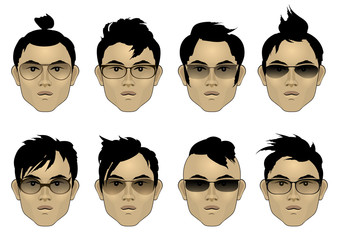 Set of Asian men's faces with different  hairstyles and sunglasses. Vector colorful illustration.