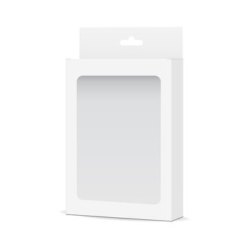 White blank box mock up with transparent window and hanging tab - side view. Packaging for mobile accessories. Vector illustration