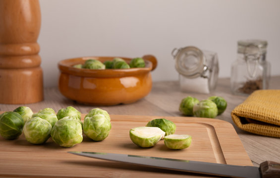 Brussels sprouts on a kitchen table