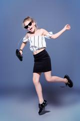 jumping fashion girl