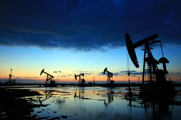 in the evening, oil pumps are running