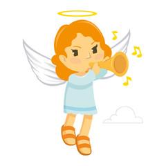 Little Flying Angel blow a trumpet