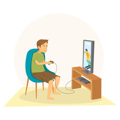 Young Guy Sitting and playing games on his big flat television screen