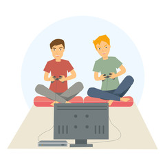 Two guys playing games on his big flat television screen in their living room