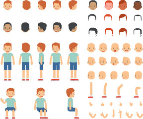 Set of various man emotion face, hairstyles, hand, leg and various of guy standing