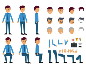 Cartoon of businessman with many head and hairstyles. Various leg and accessory