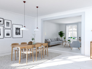 modern nordic dining room in loft apartment. 3D rendering