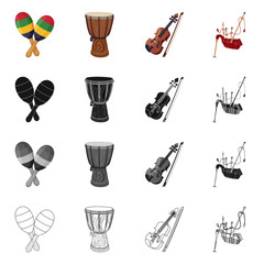 Vector illustration of music and tune symbol. Set of music and tool vector icon for stock.
