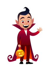 Funny cartoon little vampire boy wearing Halloween costume