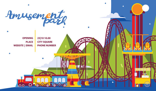 Amusement park poster template. Flat attractions and carousel for family time