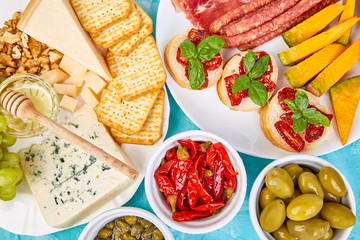 Italian antipasti wine snacks set. Antipasto catering platter