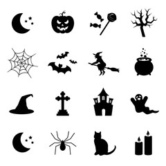 Halloween vector icon set.