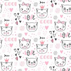 Vector fashion cat seamless pattern. Cute kitten illustration
