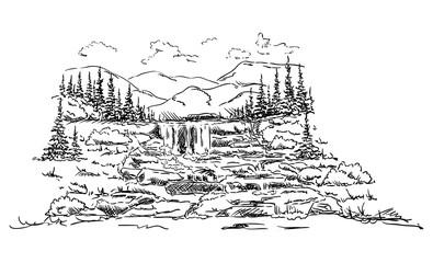 vector -  landscape  Waterfall
