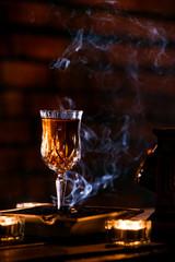 Studio shot of beverage with smoke effect