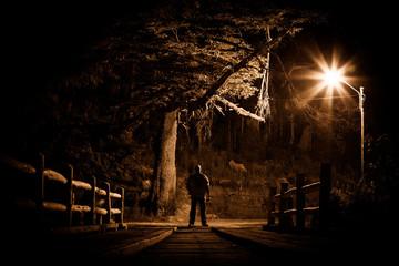 Night stalker concept. Man standing on wood bridge under street light in dark night