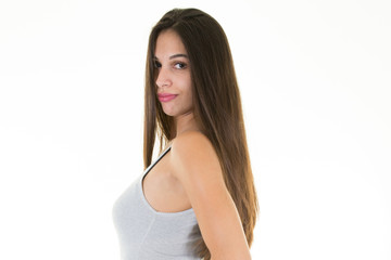 Close-up portrait of young woman casual portrait in positive view