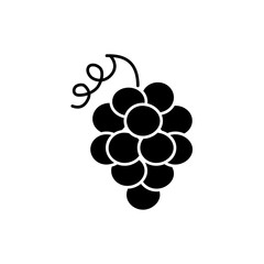 Black & white vector illustration of grape fruit. Flat icon of bunch of grapes. Vegan & vegetarian food. Health eating ingredient. Isolated object