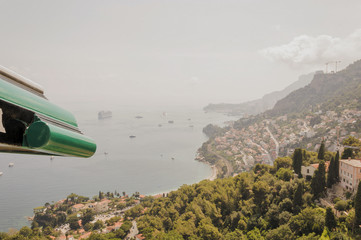 Panoramic view of the gulf of Cabbé Cap Martin and Montecarlo Principality of Monaco