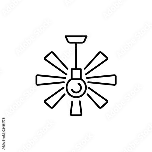 """""""Vector Illustration Of Ceiling Fan. Line Icon Of Modern"""