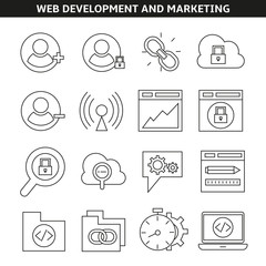 web development and marketing icons in line style