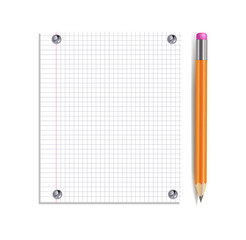 Vector Notebook Page Pinned by Silver Buttons and Realistic Pencil Isolated.