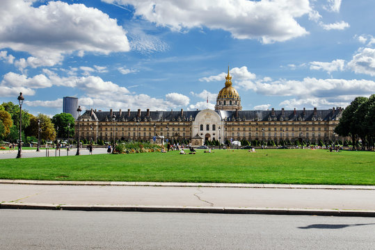 Paris, France - August 13, 2017. Palace Les Invalides or National Residence of the Invalids in Paris is popular touristic complex of museums and monuments relating to military history of France.