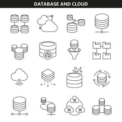 database and cloud icons in line style