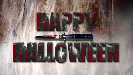Happy Halloween Scary Bloody Text Effect