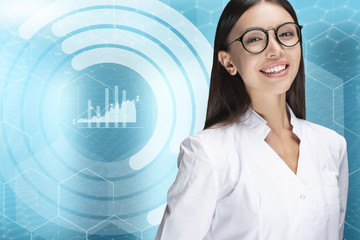A young woman doctor smiling, standing in front of a graphic data chart background. Communicate about health care and medical data, statistics, records, logs and success stories related to health