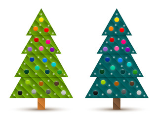 Set 4 of abstract geometric decorated coniferous trees with colorful baubles. Two shades of green. Vector EPS 10