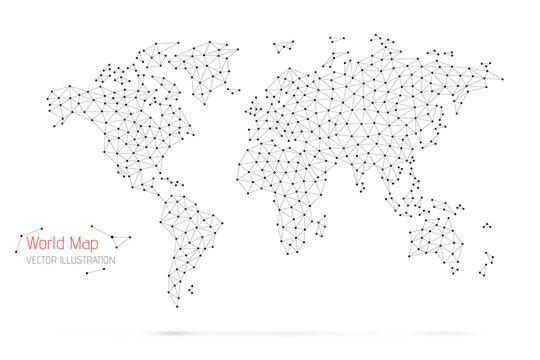 Polygonal abstract world map. Global network connection. Vector illustration.