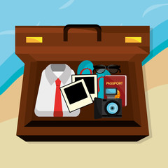 beach landscape with suitcase and set icons