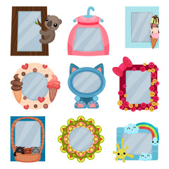 Collection of cute photo frames, album templates for kids with space for photo or text, card, picture frames vector Illustration on a white background