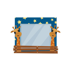 Cute photo frame with giraffes, album template for kids with space for photo or text, card, picture frame vector Illustration on a white background