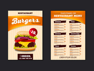 Fast food menu brochure design on a light background vector template in A4 size. flyer, baner and Layout Design. food concept.