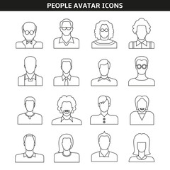people avatar icons line style